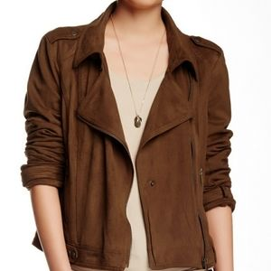 BNCI Brown Suede Moto Jacket Size Large Biker Tan